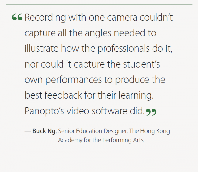 Panopto at Hong kong Academy for Performing Arts