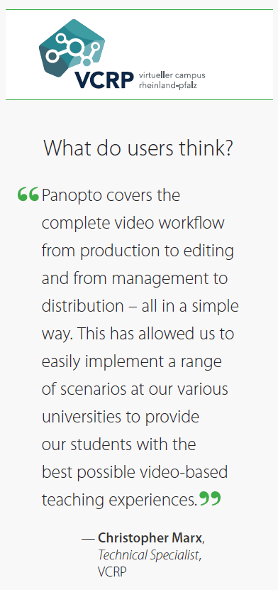 Panopto's video learning platform provided innovative, functional video implementation to VCRP