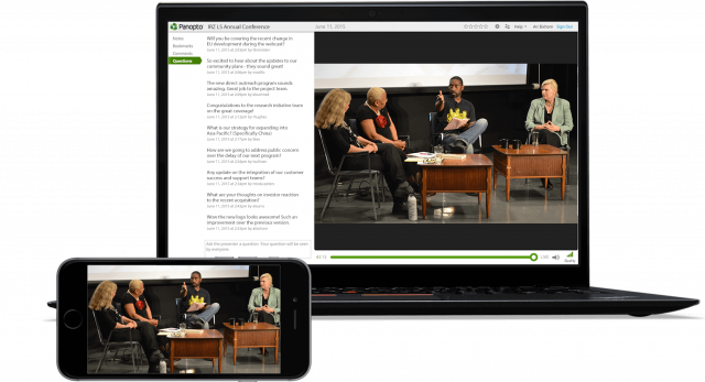 Panopto's live-stream capability allows for clear viewing on any display
