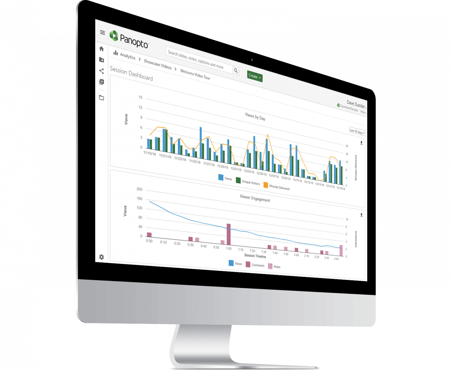 Panopto's video training software gives in-depth analytics on employee video engagement