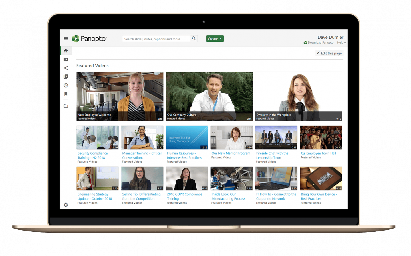 Panopto's secure video portal is a central repository for your corporate videos
