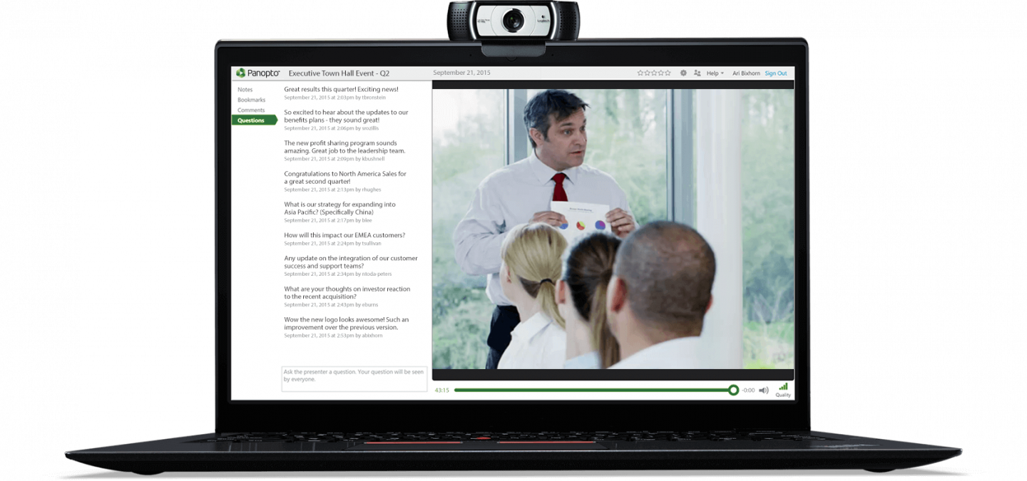 Panopto's interactive live streaming software enables comments, live Q&A, and more