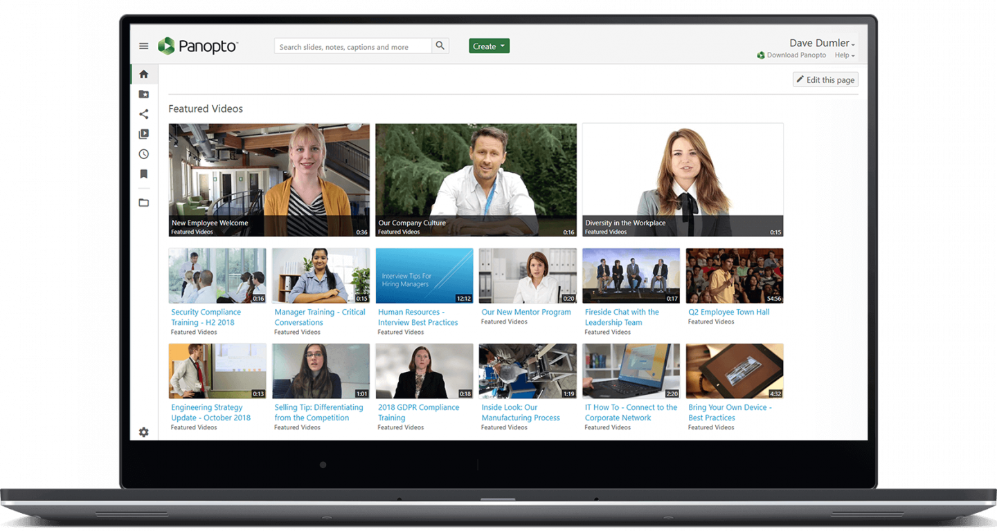 Panopto's enterprise video platform for businesses includes a secure, central video library