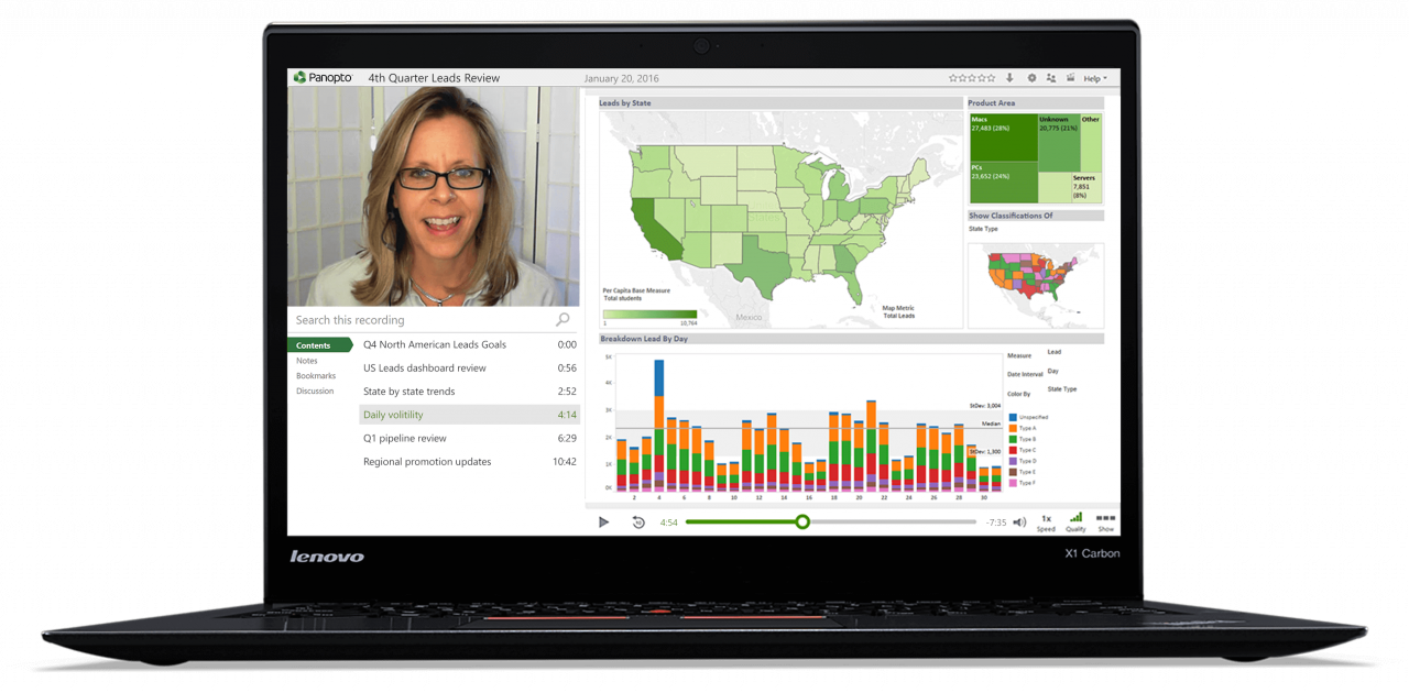 Panopto's video screen recording software allows for screen capture of presentations and demos