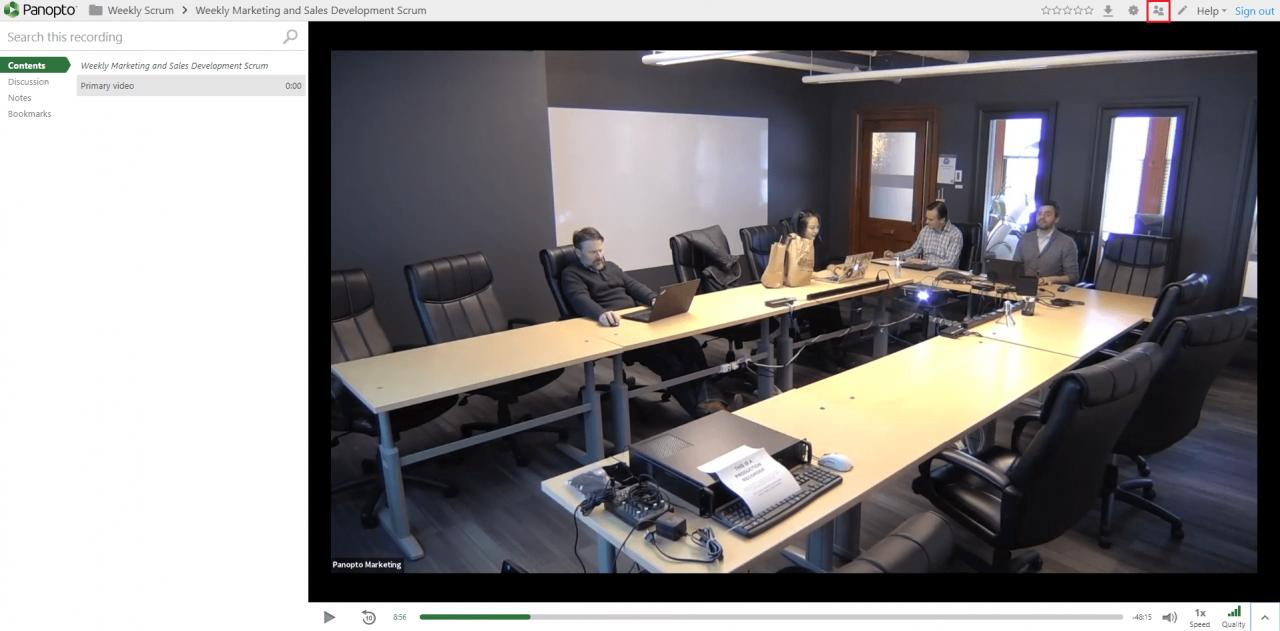 Video sharing settings in Panopto