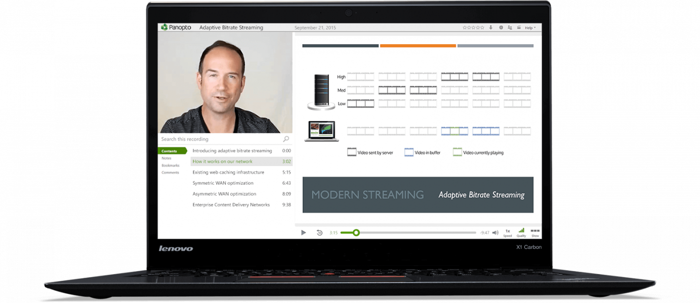Panopto's modern HLS video streaming solution delivers clear, clean video