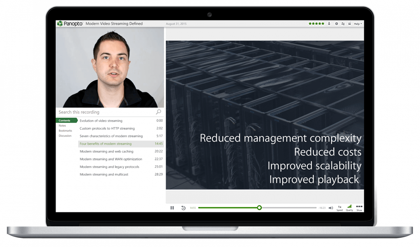 Panopto's HLS video streaming protocols support video streaming at scale on your WAN