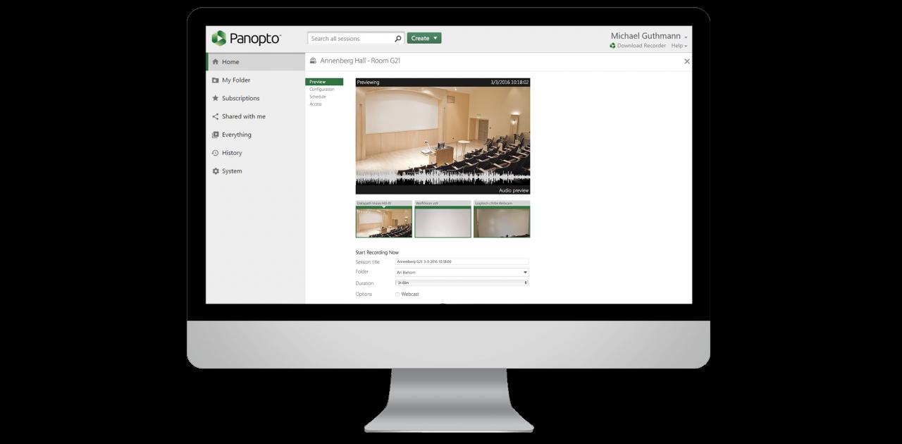 L'enregistrement vidéo automatique de Panopto facilite l'enregistrement des réunions et des cours