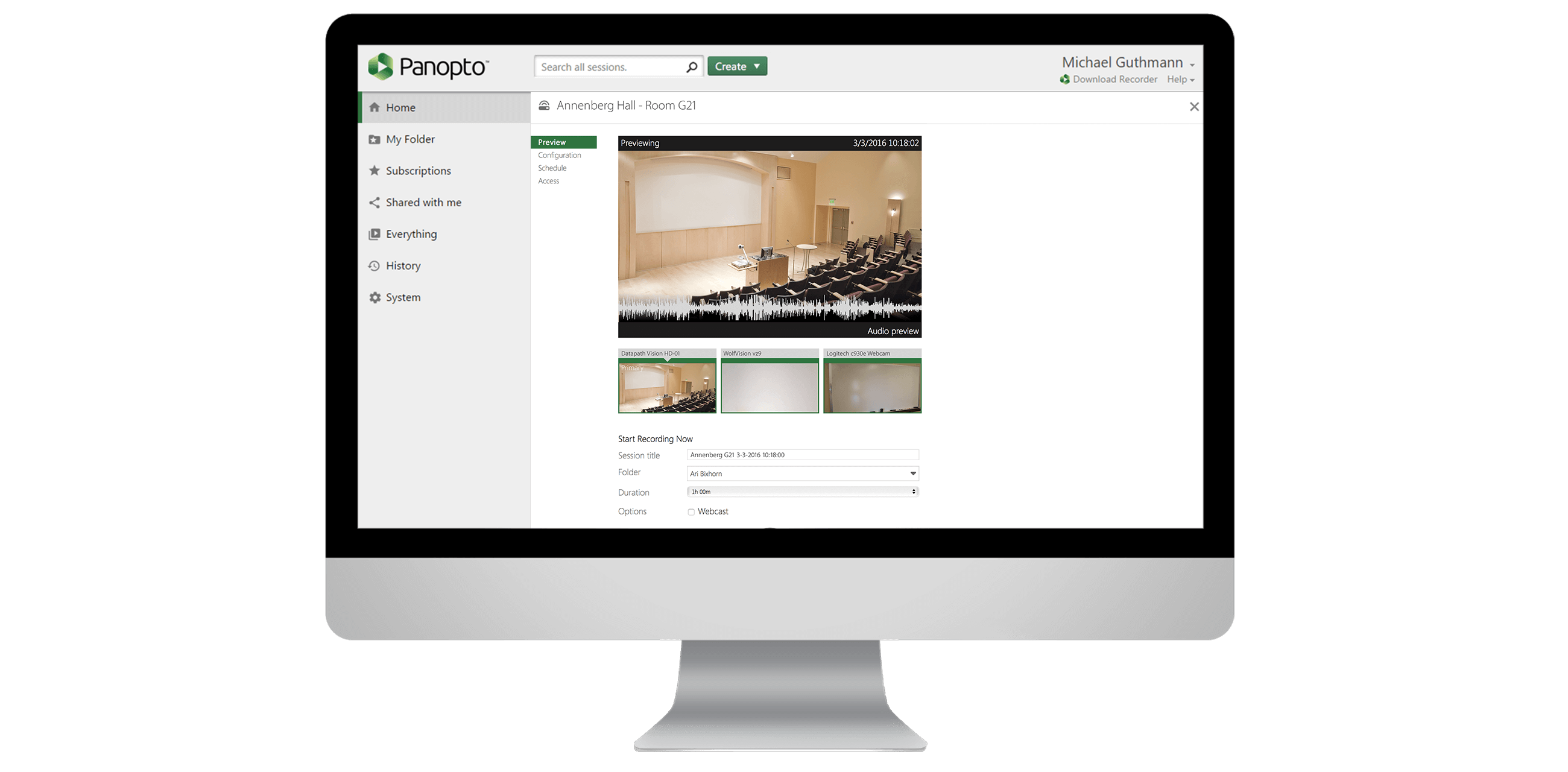 Panopto's automatic video recording makes meeting recording and lecture capture easy