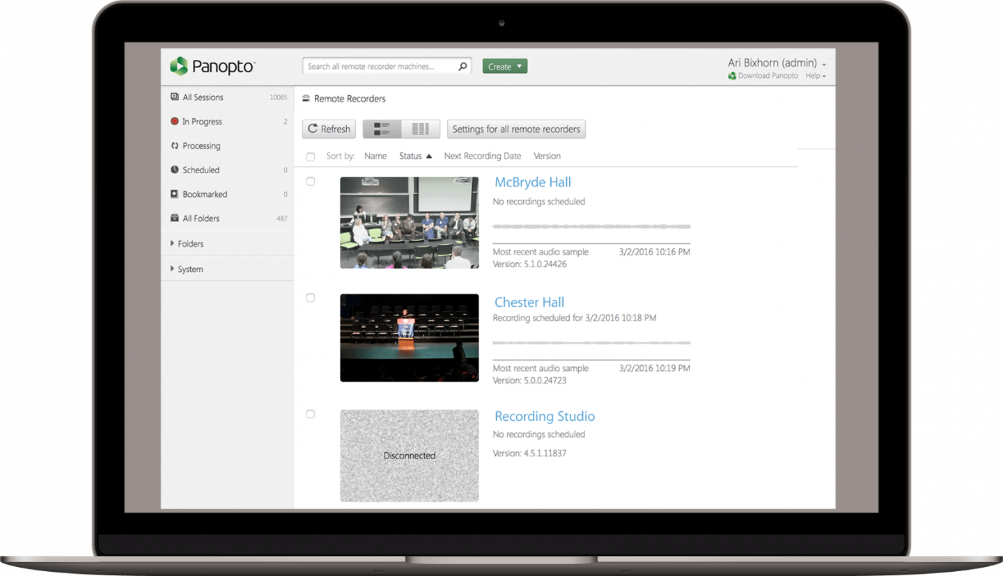 Manage automated video recordings remotely with Panopto