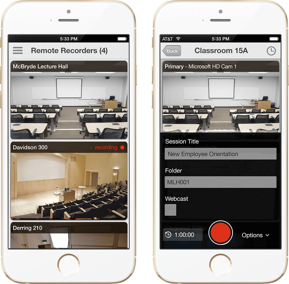 Use your mobile device as a remote control to manage video recording