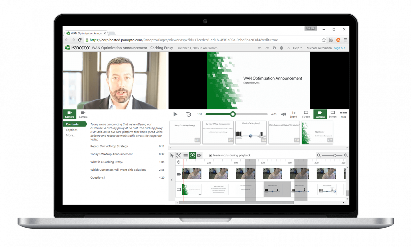 Sync multiple feeds and slides to your video presentation with Panopto's online video editor