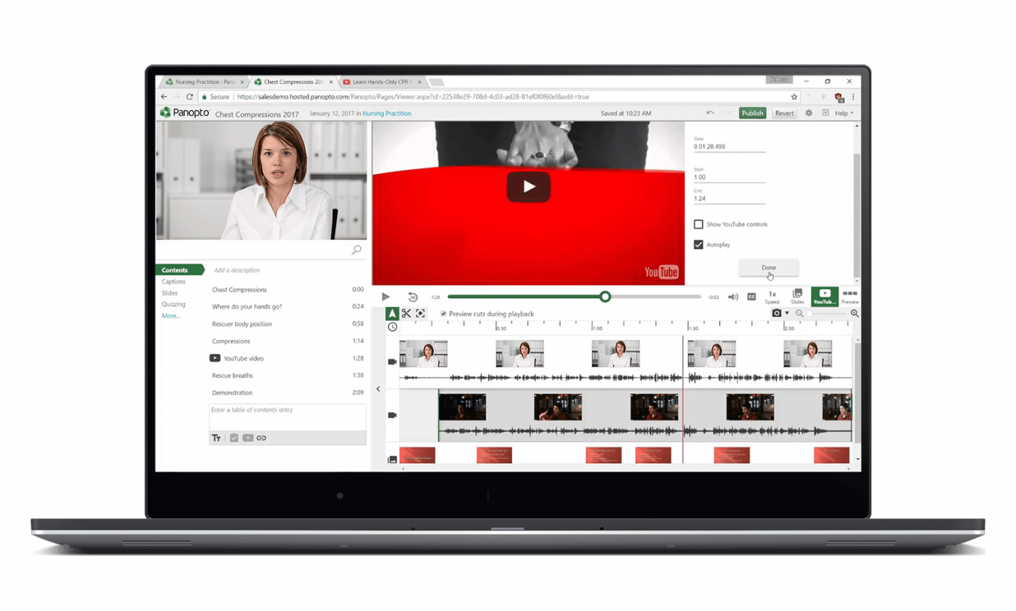 Embed YouTube videos in your video recordings with Panopto's video editor