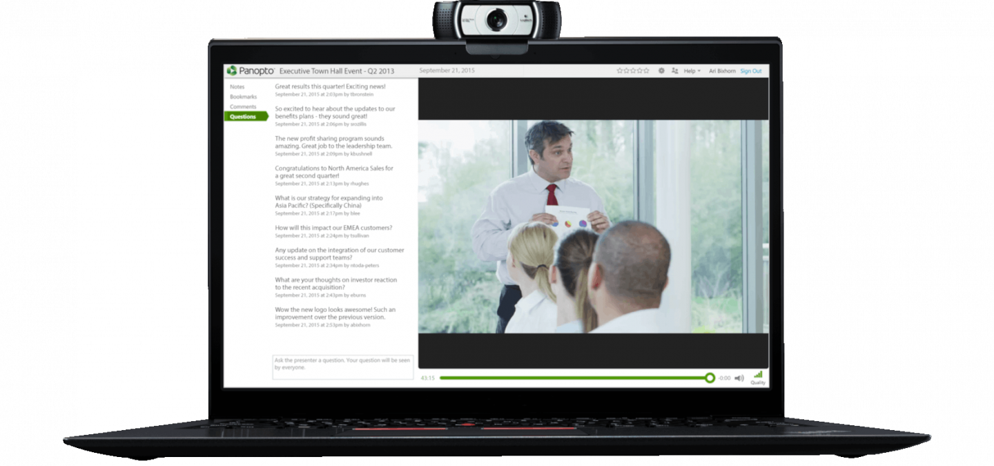 Panopto makes creating live and on-demand internal corporate communications videos easy
