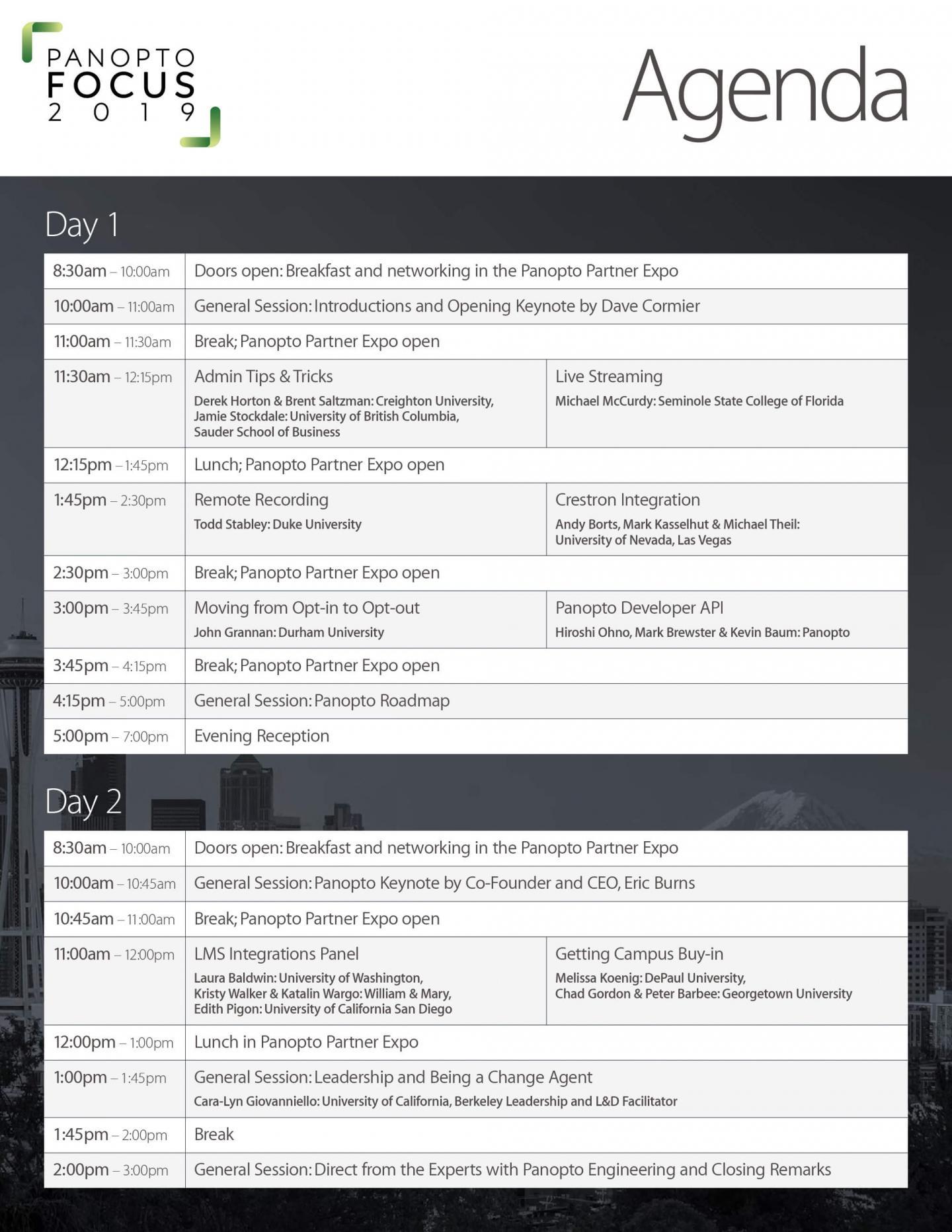 Panopto 2019 User Conference - Focus - Agenda
