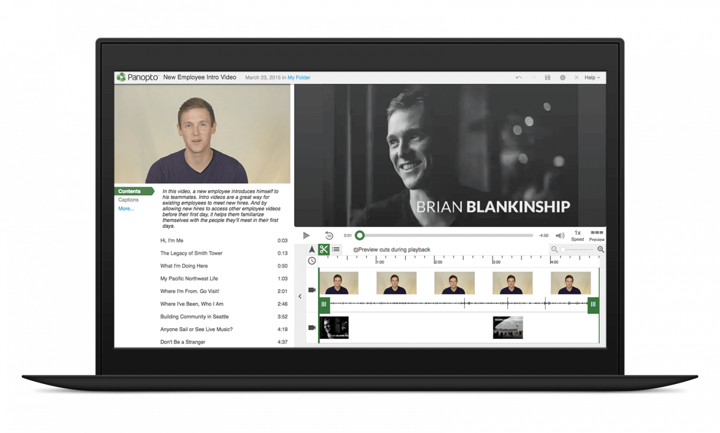 Create new employee introduction videos with Panopto