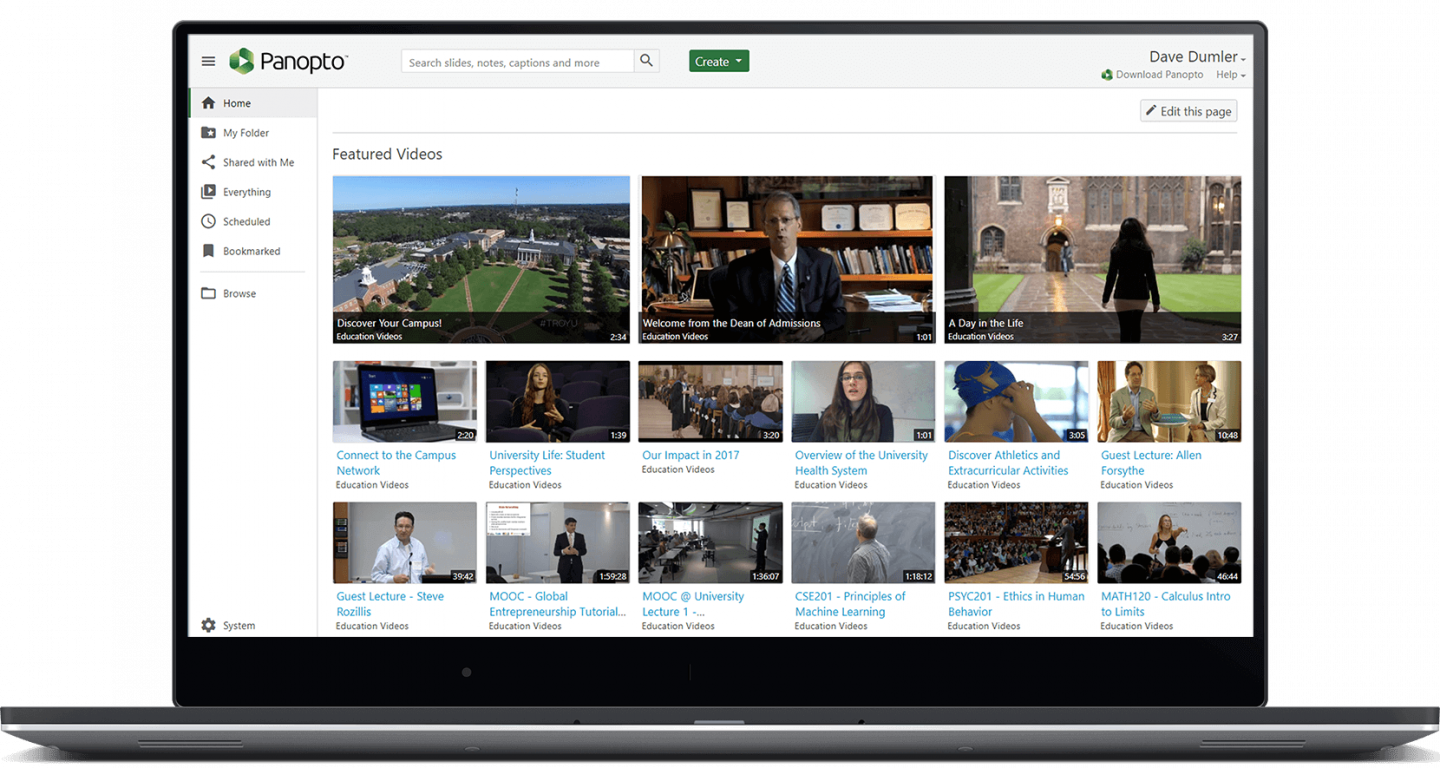 Manage lecture capture and other university videos in a searchable video content management system