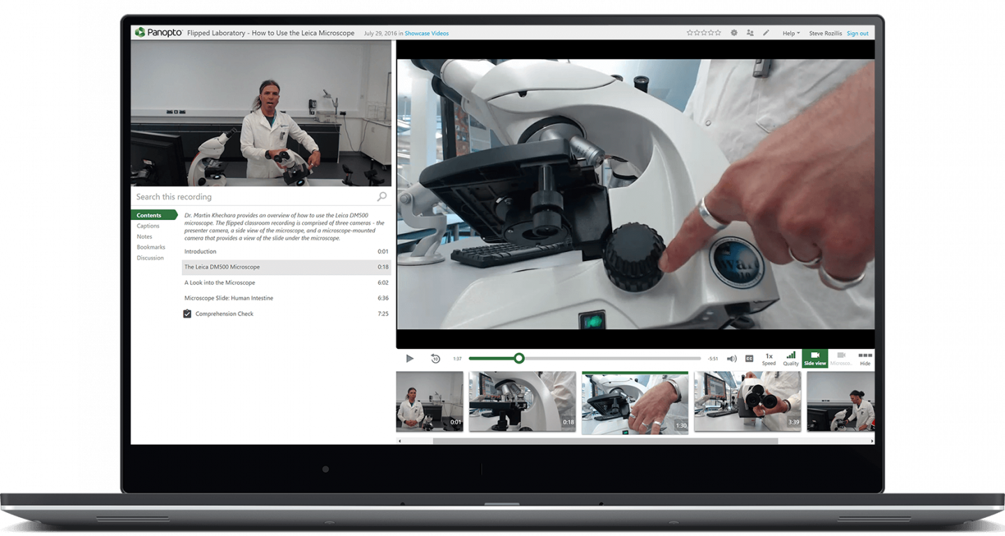 Utilize multi-camera support and 360 degree video to engage students with Panopto's video platform for active learning
