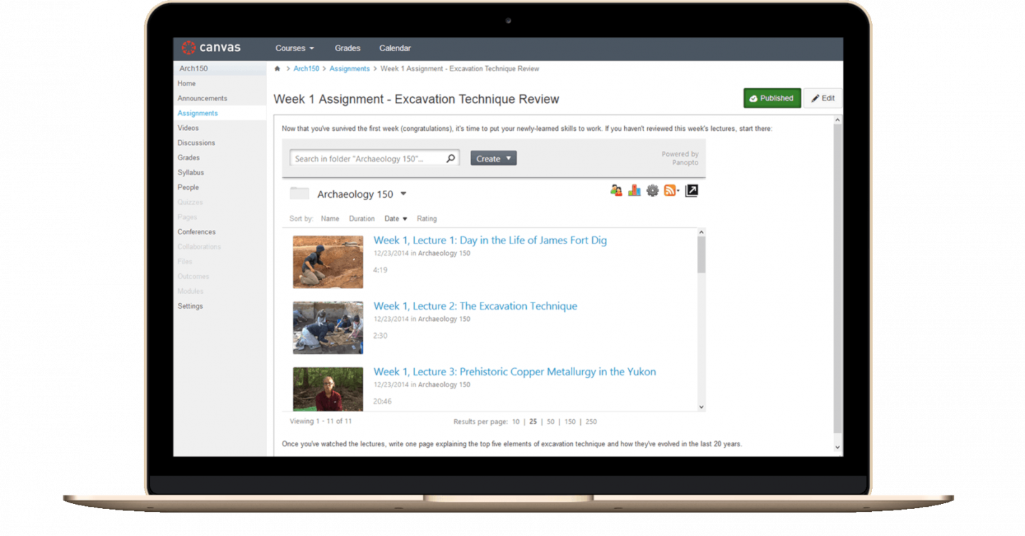 Panopto's video hosting platform for education integrates seamlessly with your learning management system