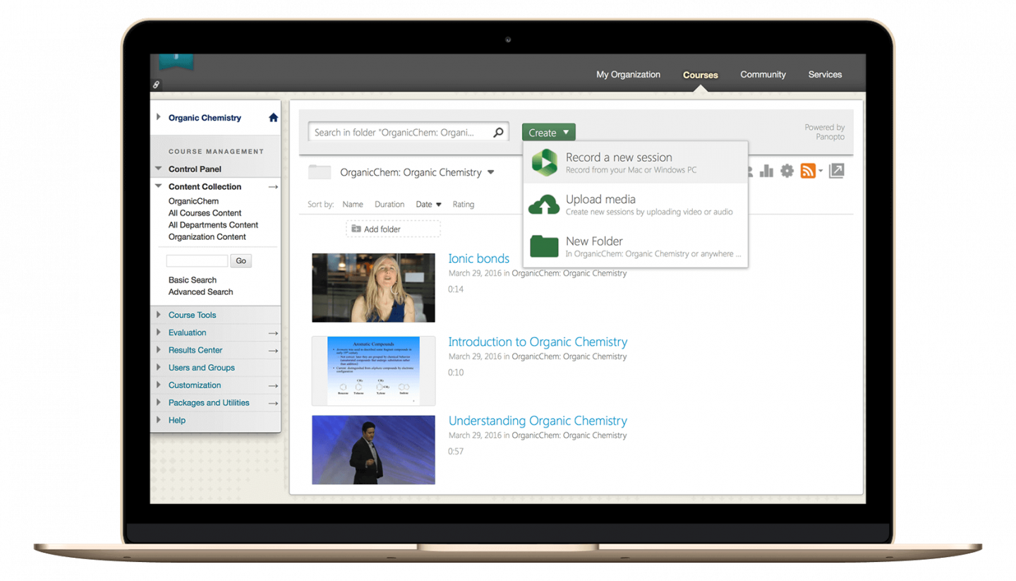 Create, upload, manage, and view video content with Panopto's BlackBoard integration