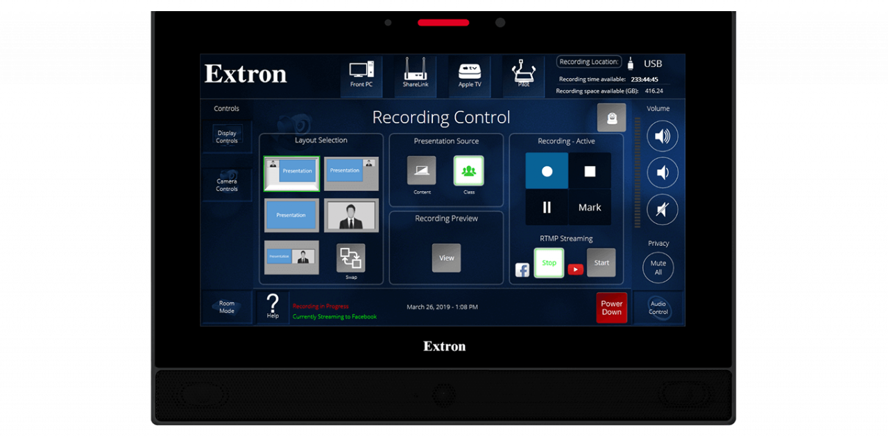 Panopto's Extron integration provides a one-touch recording solution
