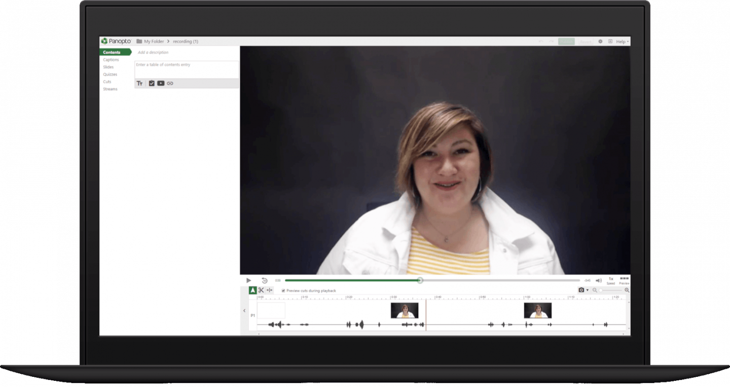 Edit, cut, or splice together GoToMeeting recordings with Panopto's online video editor