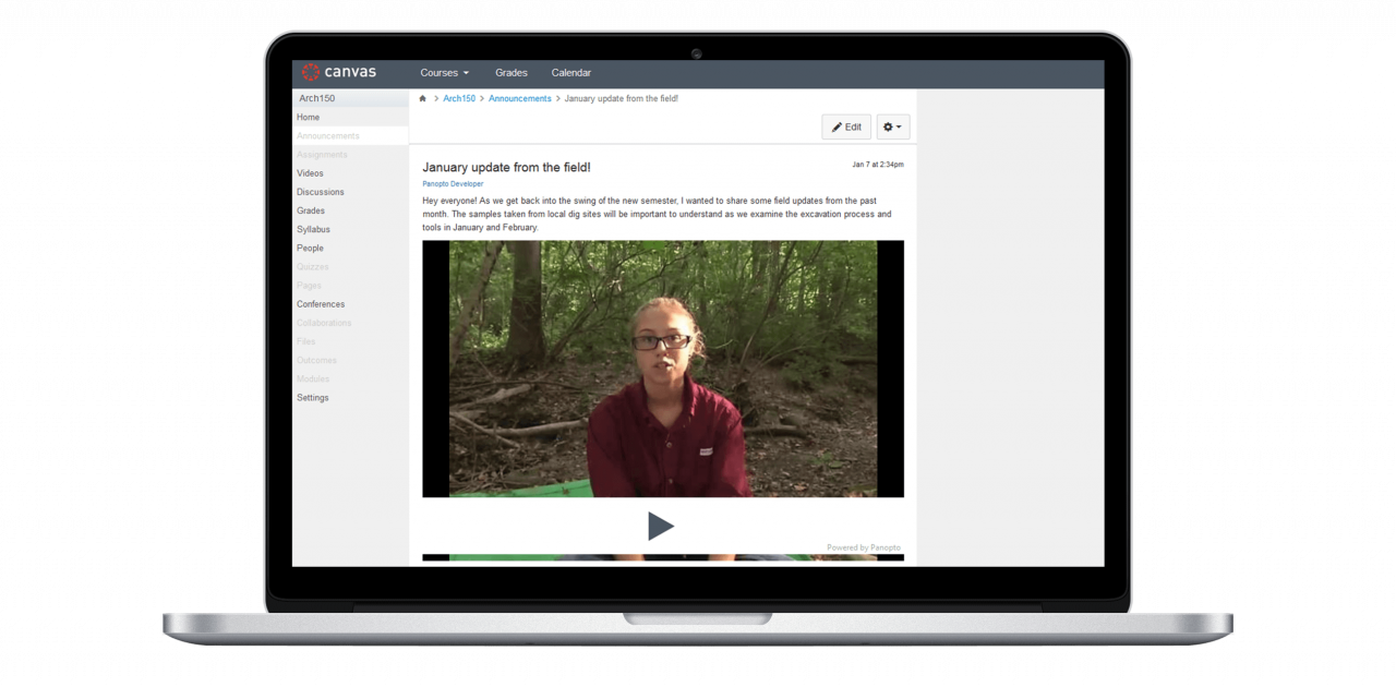 Video for Instructure Canvas LMS - Panopto Video Platform