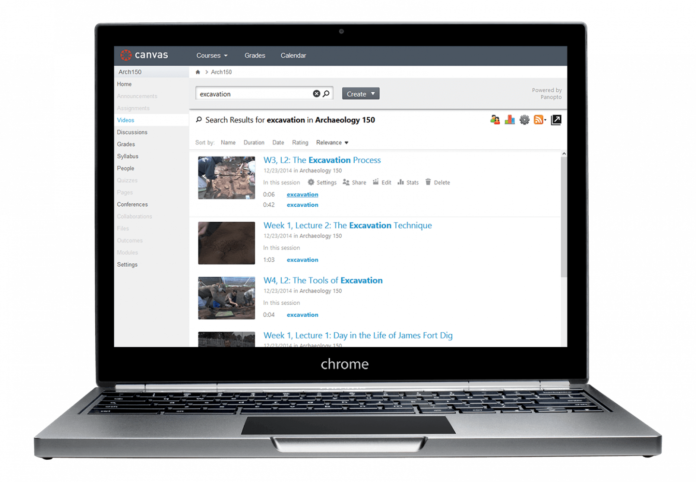 PanoptoのCanvasとの統合では、関連コンテンツを閲覧することができる検索機能が含まれています