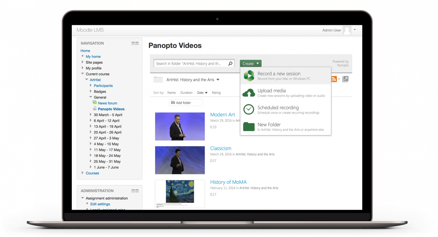 Create, upload, manage, and view video content with Panopto's Moodle integration