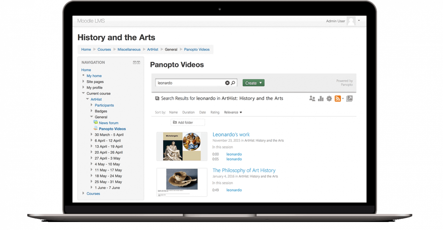 Panopto makes it possible to search inside your video content without leaving Moodle