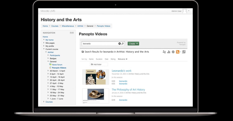 Panopto ermöglicht das Durchsuchen Ihrer Videoinhalte, ohne Moodle zu verlassen