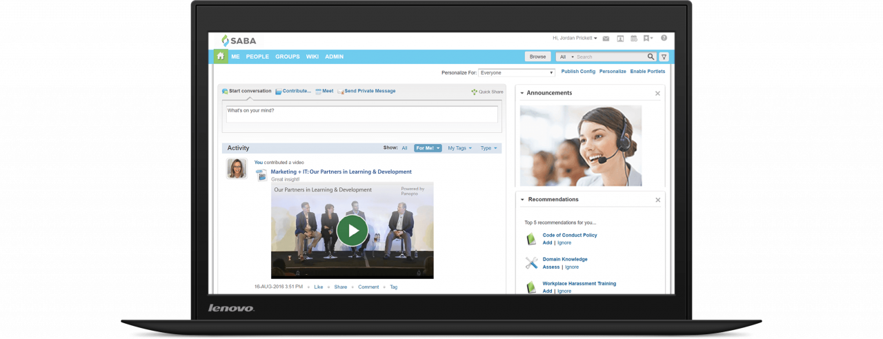 Capture, curate, and manage video content with Panopto's Saba integration