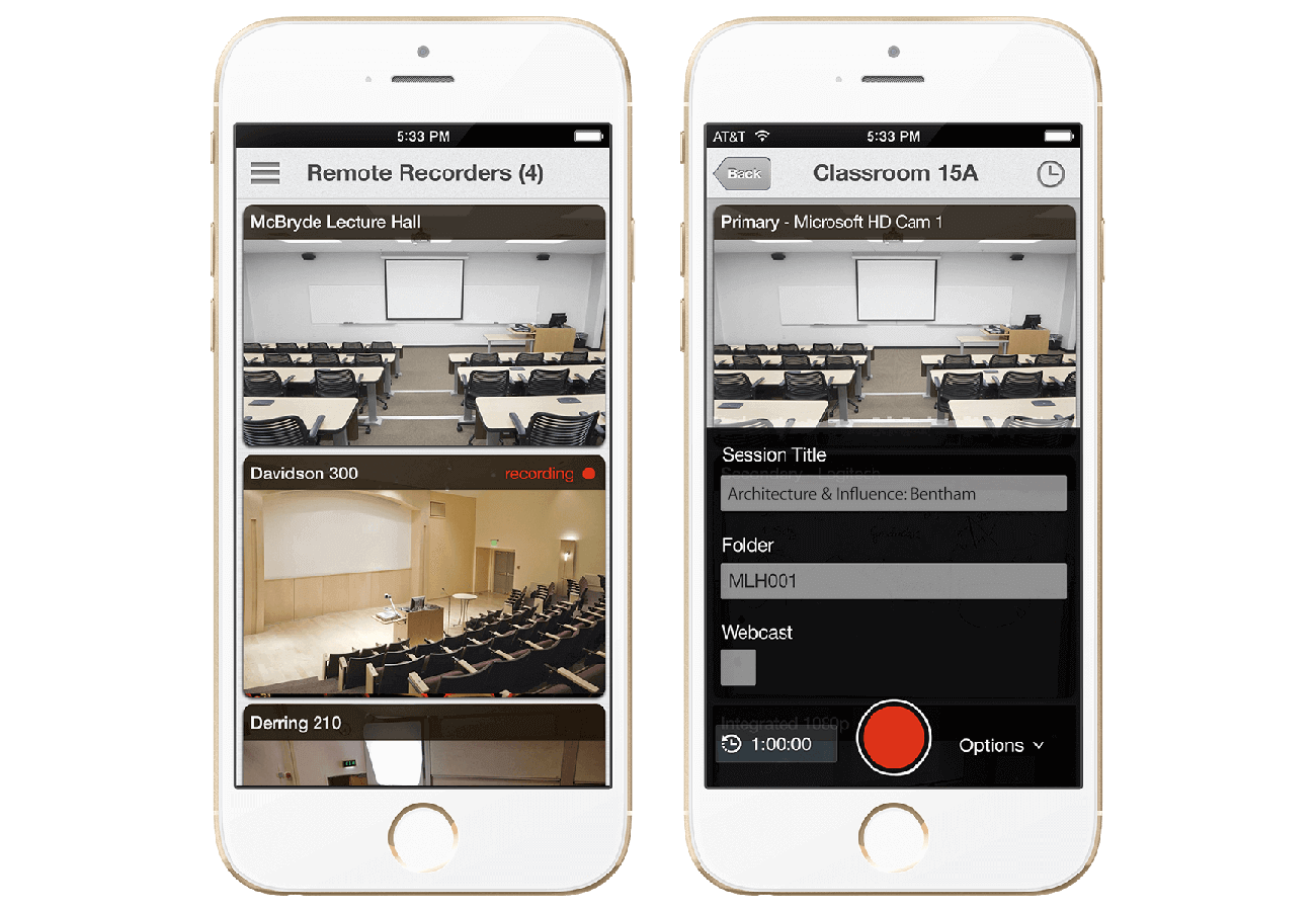 Panopto's mobile applications provide you with a remote control from your phone or tablet