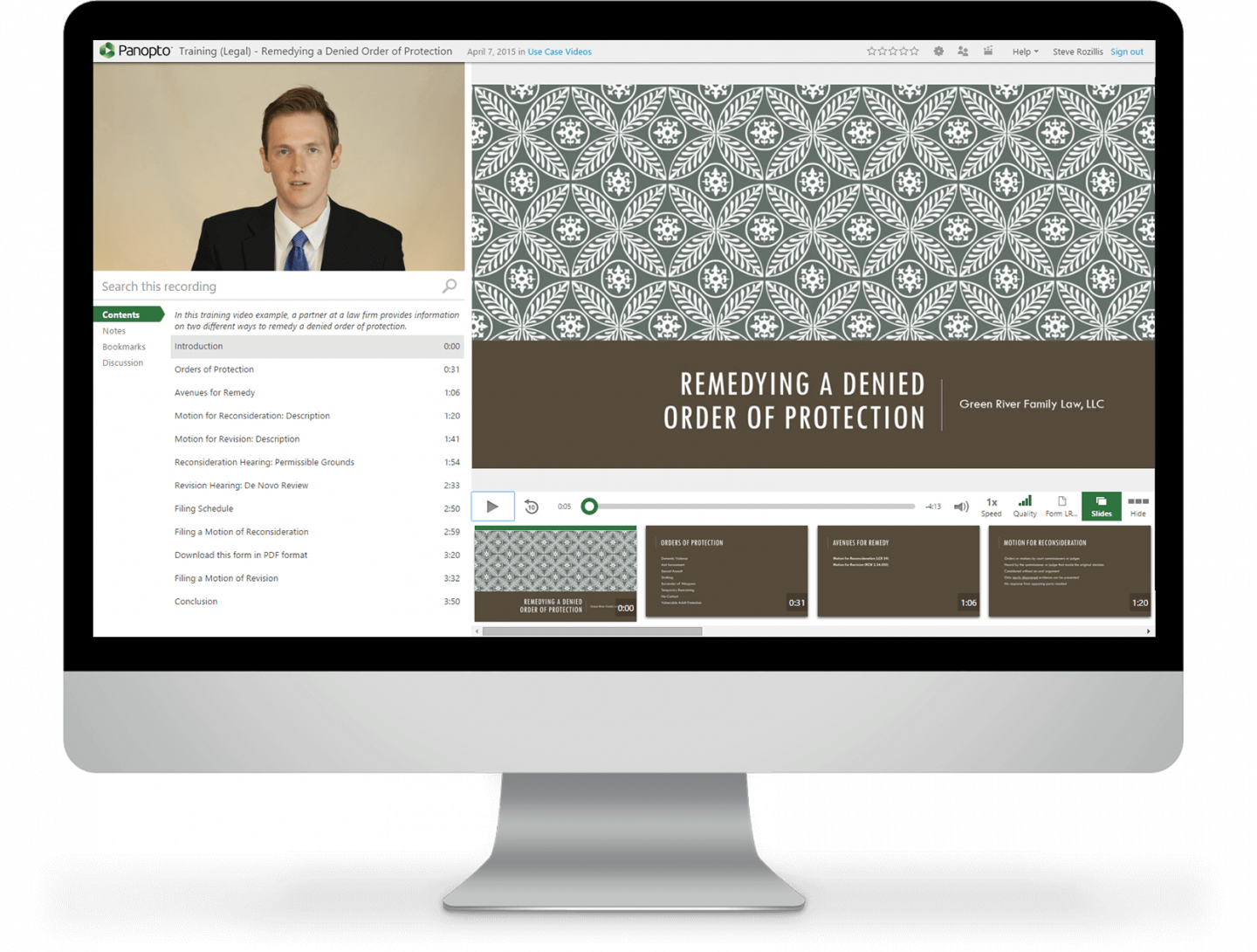 Manage, share, and amplify your legal expertise with Panopto's video platform for law firms