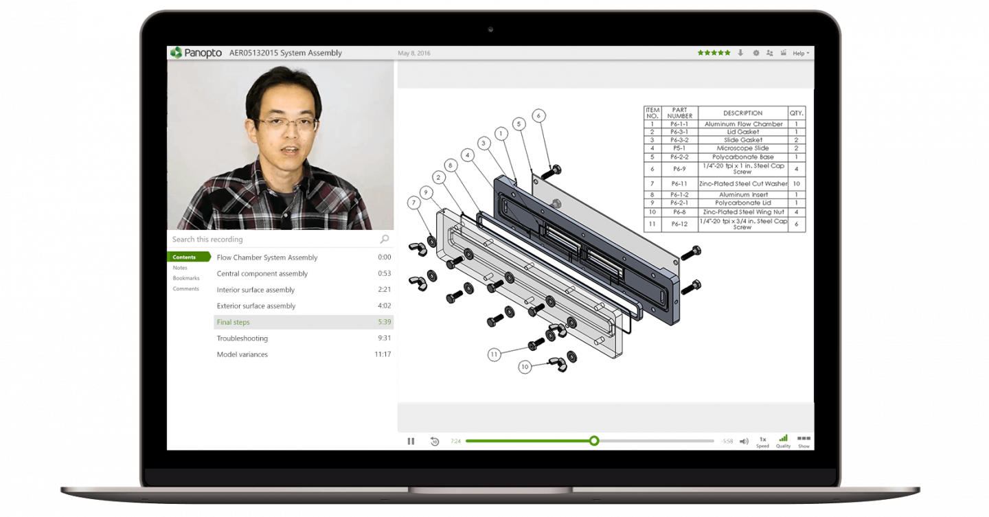 Make knowledge your sustainable competitive advantage with Panopto's video platform for manufacturers