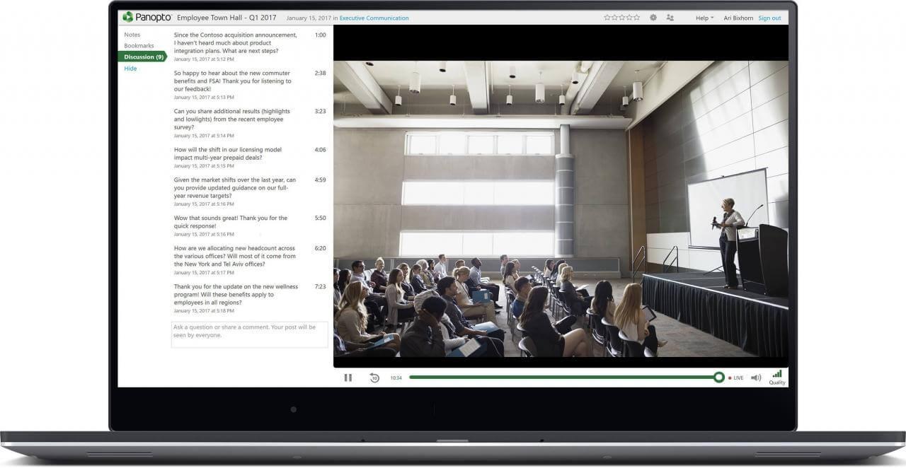 Die Videoplattform von Panopto unterstützt Live-Streaming in hoher Qualität