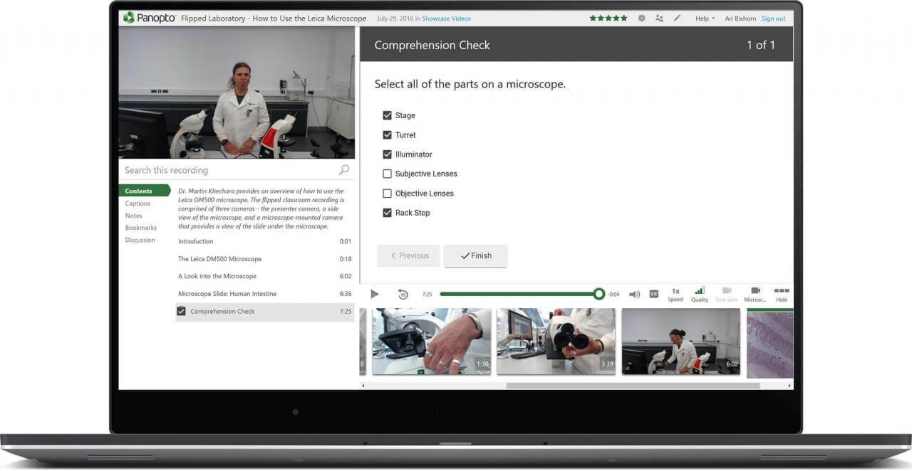 Die Videoplattform von Panopto ermöglicht die Integration von Quiz innerhalb eines Videos