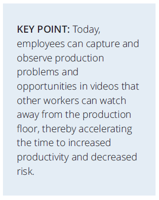 Capture and observe production problems and opportunities in videos