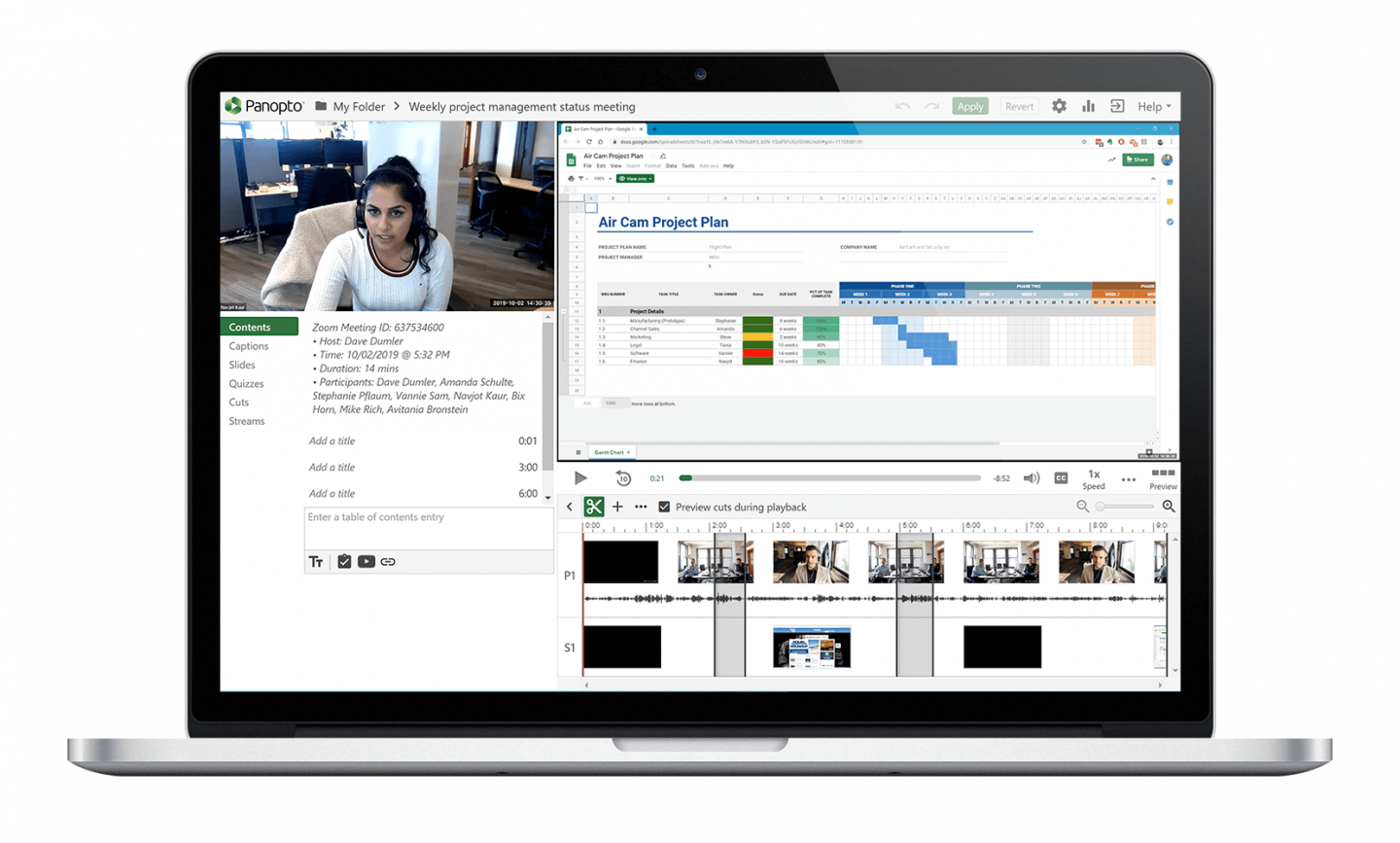 Edit Zoom cloud recordings with Panopto's online video editor