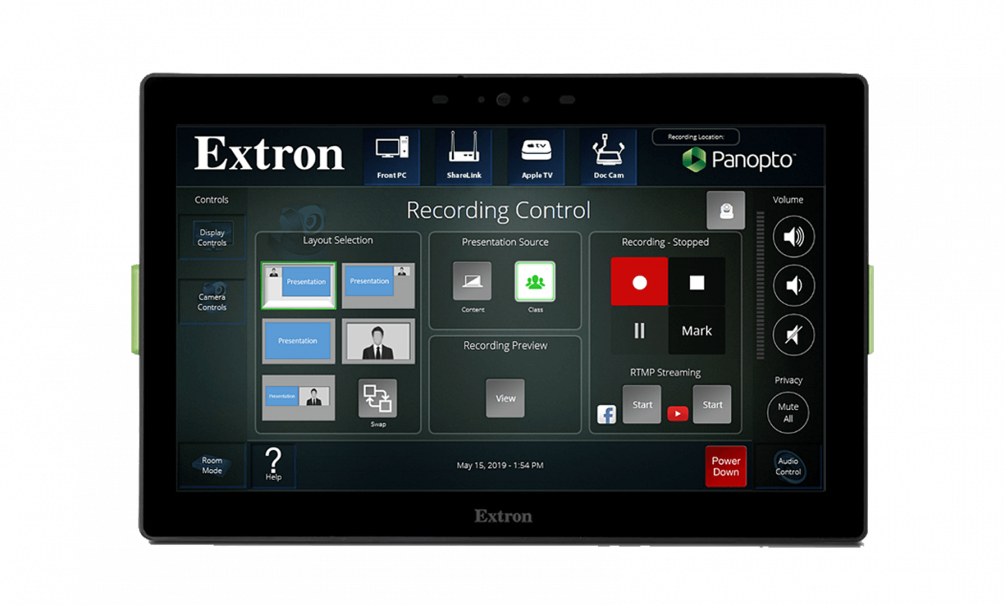 One-touch video capture with Panopto and Extron's touchpanel control