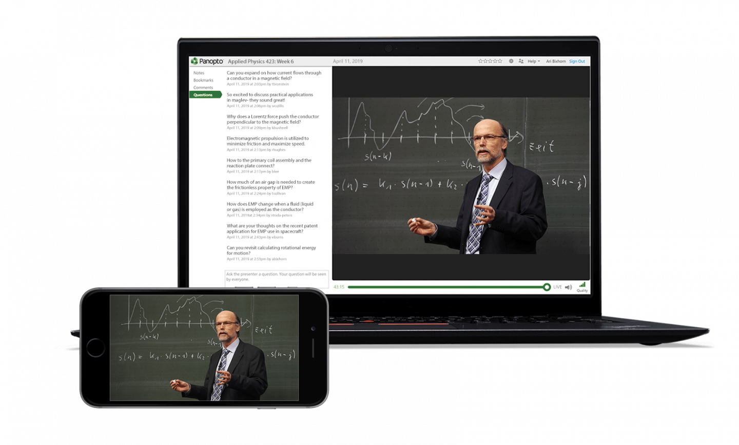 Live stream lectures to distance learners with Panopto's video platform
