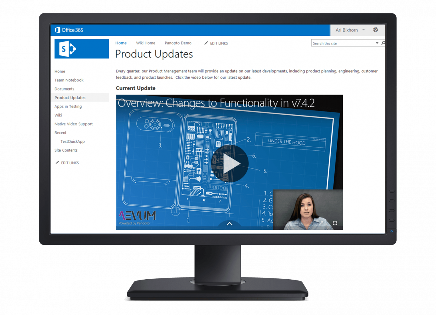Embed videos in SharePoint pages with Panopto