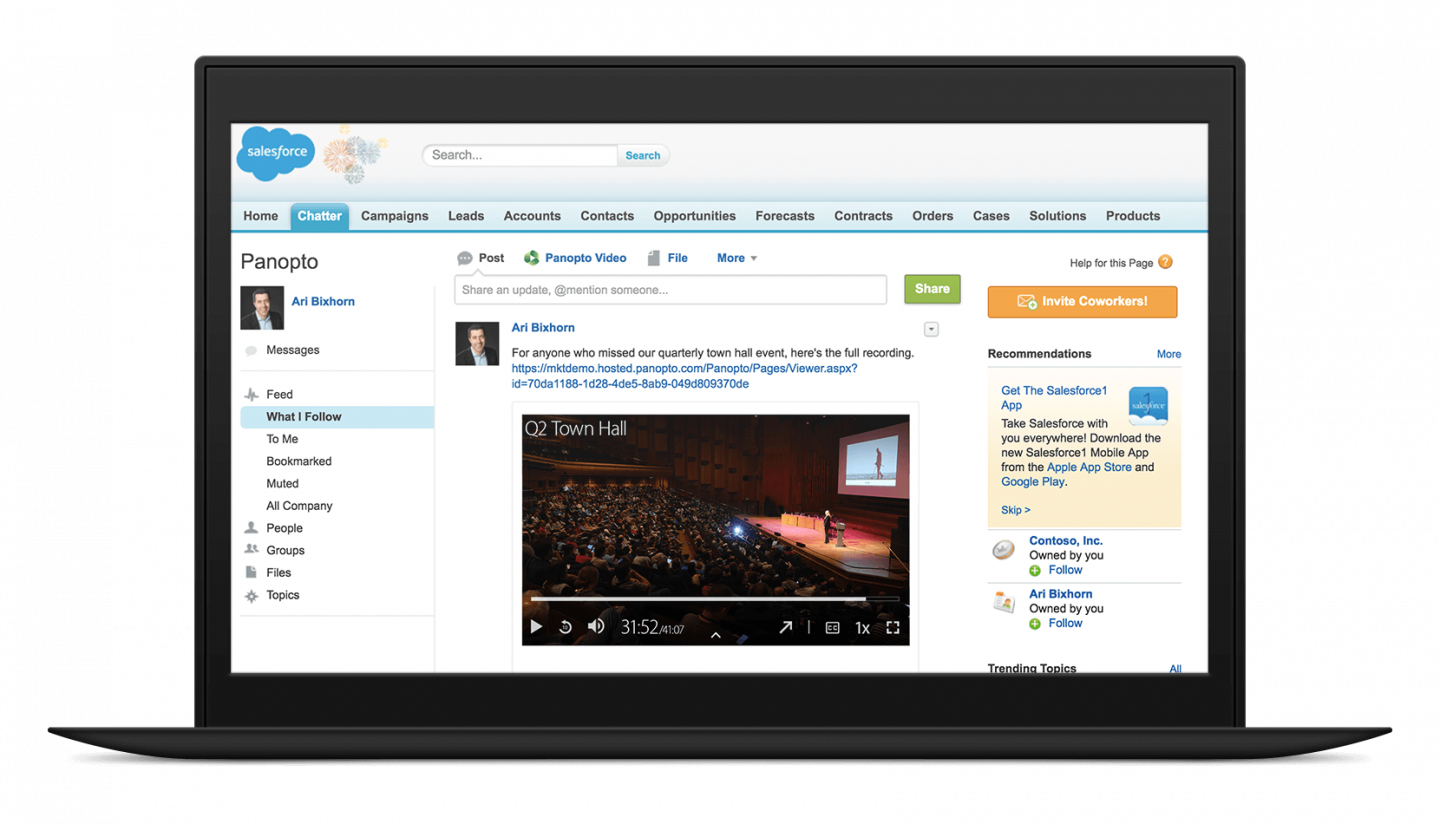 Share videos on Salesforce Chatter with Panopto
