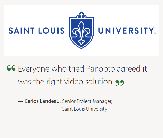 Panopto was the right lecture capture solution for SLU