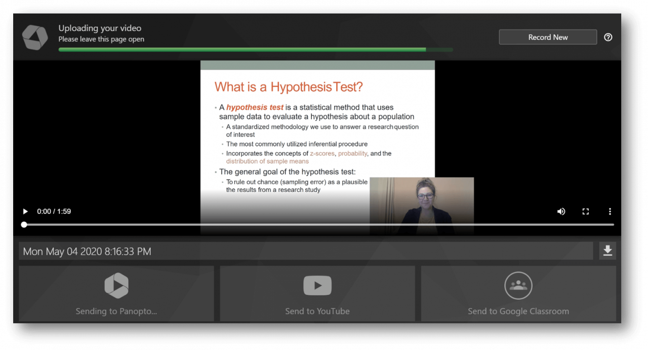 Share video recordings of PowerPoint presentations online