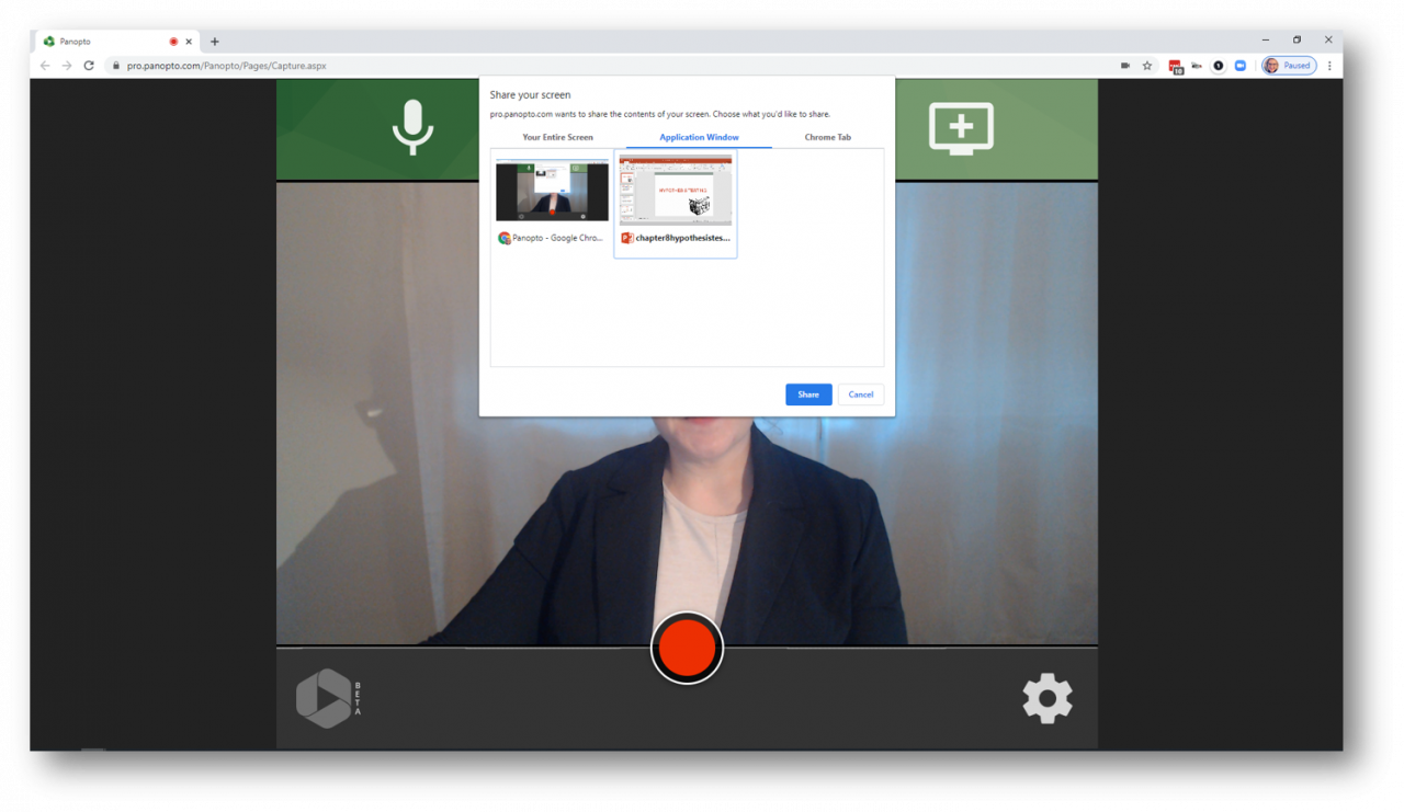 It takes just a few clicks to set up lecture recording in Panopto