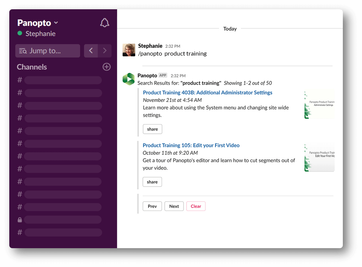 Share videos in Slack with Panopto's Slack App
