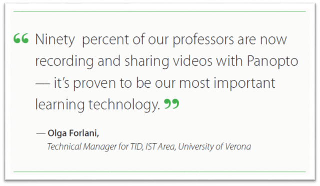 The most valuable learning technology at University of Verona - Panopto