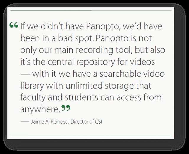 Saving the semester with Panopto