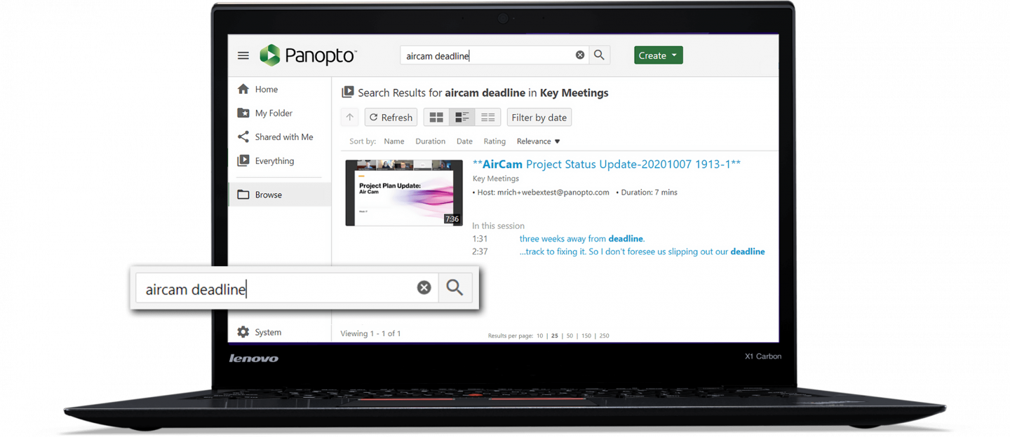Search inside Cisco Webex Meetings with Panopto